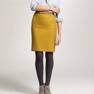 J.CREW Yellow No. 2 Pencil Skirt Double Serge Wool